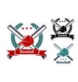 Baseball symbols vector image vector image