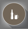 beer bottle sign white icon on brown vector image vector image