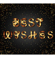 best wishes gold sign on black background vector image vector image