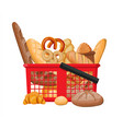 bread icons and shopping basket vector image