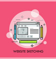 browser window pen pencil and ruler vector image vector image