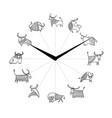 bull year clock design lunar horoscope sign vector image vector image