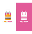 burger and shop logo combination hamburger vector image vector image