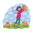 cartoon woman on a walk with puppies beautiful vector image vector image