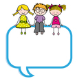 Children sitting in a speech bubble vector image vector image