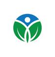 circle human leaf logo image image vector image vector image