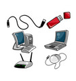 computer equipment on white background vector image vector image
