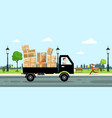 delivery service car with paper boxes and driver vector image