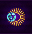 earth sun neon label vector image vector image