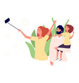 family photo mom dad and daughter take selfie vector image vector image