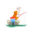 fisherman sitting in boat with fishing rod vector image vector image