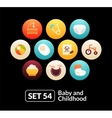 Flat icons set 54 - baby and childhood vector image