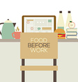 Food On The Table For Worker Health Concept vector image vector image