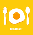 Fried eggs spoon and fork - breakfast vector image vector image