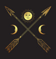 gold crossed arrows with crescents and full moon vector image vector image
