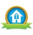 Gold lock house logo vector image vector image