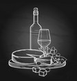 graphic bottle and glass of wine with camembert vector image vector image