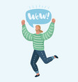 happy man is jumping vector image vector image