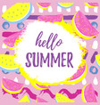 hello summer greeting banner seamless watermelon vector image vector image