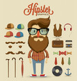 Hipster character design with hipster elements vector image