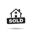 house with sold sign flat on white background vector image vector image