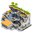 isometric coal mining quarry vector image vector image