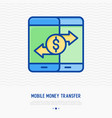 mobile money transfer thin line icon vector image