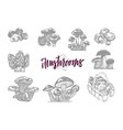 Mushroom In Engraved Icon Set vector image vector image