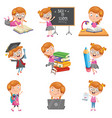 of little school girl vector image