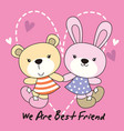 rabbit and bear with love background vector image vector image