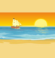 sailboat floating on the sea flat vector image vector image