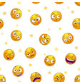 seamless pattern with funny round yellow stickers vector image vector image