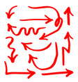 set hand drawn red arrow lines isolated vector image