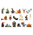 set scary halloween characters and objects vector image