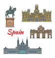 spanish travel landmark of madrid linear icon set vector image vector image
