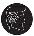 strategic thinking head black concept icon vector image