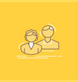 student employee group couple team flat line vector image