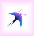 stylized flying swallow vector image vector image
