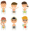 summer male characters sitting on beach chairs vector image