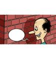 talking to a brick wall cartoon vector image vector image