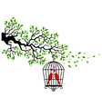 Tree silhouette with bird in a cagecage tree bir vector image