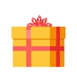 Yellow Gift Box with Orange Ribbon Bow Isolated vector image vector image