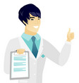 young asian doctor with clipboard giving thumb up vector image vector image