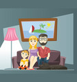 young family with mom dad and son sitting on the vector image