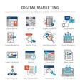 Digital Marketing Line Icon Set vector image