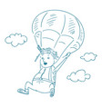 parachutists sketch style vector image