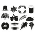 13 black white thanksgiving silhouette elements vector image vector image