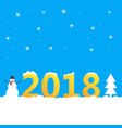 2018 background with snowman and christmas tree vector image
