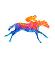 abstract racing horse with jockey from splash of vector image