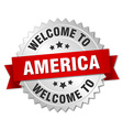 America 3d silver badge with red ribbon vector image vector image